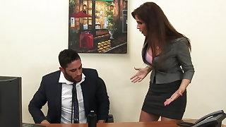Sexy milf Mr Big brass Syren De Mer exploits staff member for dick hd