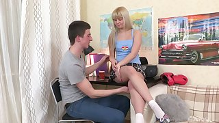 Gorgeous teen Kira gets her tight pussy smashed on an obstacle couch