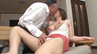 Superannuated man fucks busty Japanese sweeping in unreasoned XXX scenes