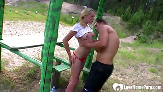 Pulchritudinous Russian couple has very hot sex in forest near the river