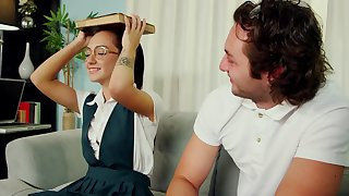 Young brunette pupil screwed in all directions doggy by their way tutor - Monica mattos