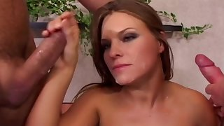 Lucy Love loves to blow two dicks at the same time before sex