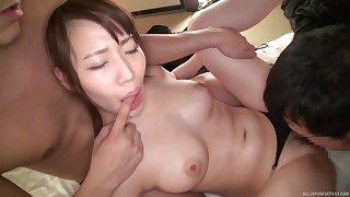 Matsumoto Honoka is between her handsome lovers during a threesome