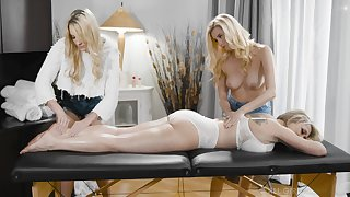 A massage turns to rough threesome with horny lesbian Carolina Sweets