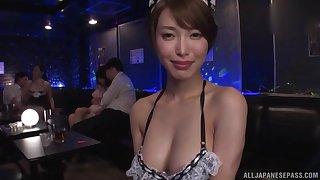 Japanese Kimijima Mio and her slutty friend share a cock