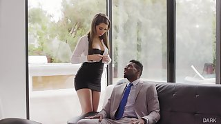Beautiful washed out Grub Streeter Joseline Kelly gets her anus holed hard by black boss