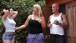 Keira Croft seduces bald headed boyfriend be expeditious for whorish mommy Alura Jenson