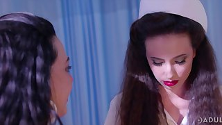 Sweltering and XXX nurse Casey Calvert loves nothing but lesbian threesome