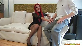 Redhead cougar Cleo Summers spreads her legs to ride her lover