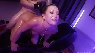 Adira Allure rides upstairs cock of a man with leather gloves and cums
