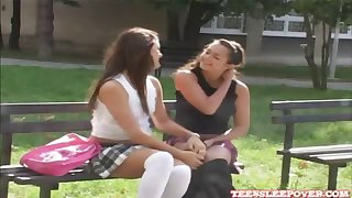 Sweet lesbian Misty and Sweetie kissing and making out after school